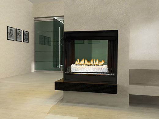 Interior of the room with a fireplace